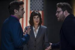 James Franco, Lizzy Caplan, and Seth Rogen in The Interview.