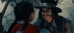 Lilla Crawford and Johnny Depp in an uncomfortable moment from Into the Woods.