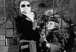 Claude Rains as the Invisible Man with Gloria (Titanic) Stuart in The Invisible Man.