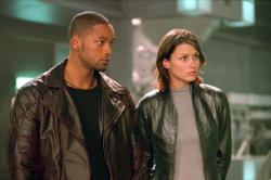 Will Smith and Bridget Moynahan in I, Robot.