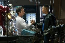 Robert Downey Jr. and Terrence Howard in Iron Man.