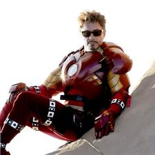 Robert Downey Jr as Iron Man, before the CGI has completed his costume.