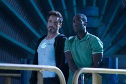 Robert Downey Jr. and Don Cheadle in Iron Man 3.