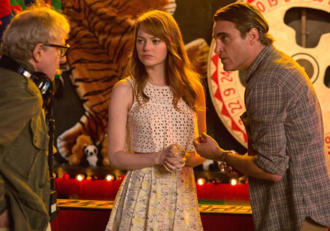 Woody Allen directs Emma Stone and Joaquin Phoenix in Irrational Man.