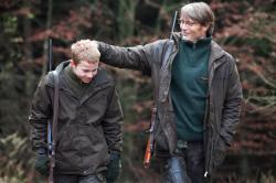 Lasse Fogelstrom and Mads Mikkelsen in The Hunt