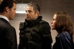 Dominc West, Rowan Atkinson and Gillian Anderson in Johnny English Reborn.