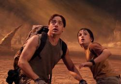 Brendan Fraser and Josh Hutcherson in Journey to the Center of the Earth.