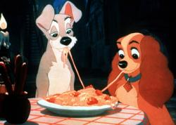 An iconic romantic moment in Lady and the Tramp.