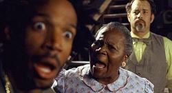 Marlon Wayans, Irma P. Hall, and Tom Hanks in The Ladykillers.