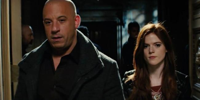 Vin Diesel and Rose Leslie in The Last Witch Hunter.