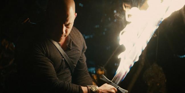Vin Diesel brandishing his flaming sword in The Last Witch Hunter