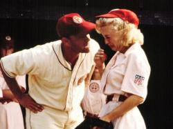 Tom Hanks informs Bitty Schram that there is no crying in baseball in A League of Their Own.