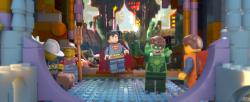 Superman and Green Lantern greet Emmet in The Lego Movie