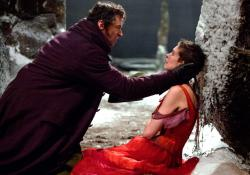 Hugh Jackman and Anne Hathaway in Les Miserable.