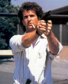 Mel Gibson as the long haired Martin Riggs.