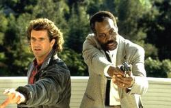 Mel Gibson and Danny Glover in Lethal Weapon 2.