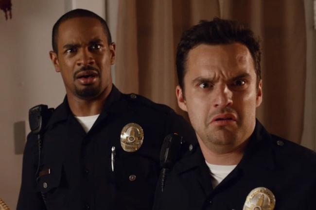 Damon Wayans Jr. and Jake Johnson in Let's Be Cops.