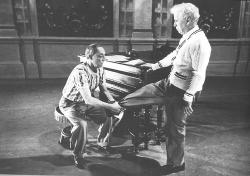 After decades in film, legendary stars Buster Keaton and Charles Chaplin still work to perfect their art during production of Limelight.