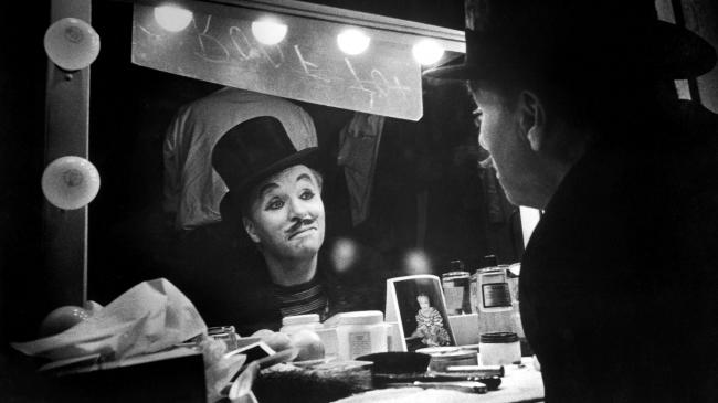 Charles Chaplin looking into a mirror, and into his past, while making Limelight.