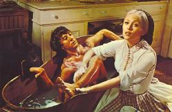 Faye Dunaway gives Dustin Hoffman a lecture on avoiding temptation as she bathes him, in Little Big Man