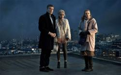 Pierce Brosnan, Imogen Poots, and Toni Collette in A Long Way Down.