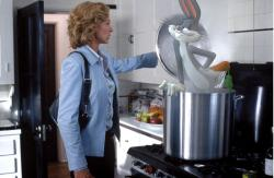 Jenna Elfman and Bugs Bunny in Looney Tunes: Back in Action.