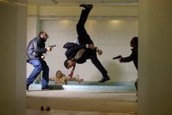 Marko Zaror doing his own stunts in Mandrill