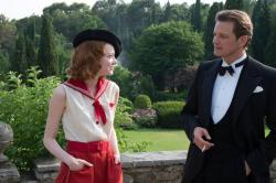 Colin Firth with his daughter date played by Emma Stone in Magic in the Moonlight.