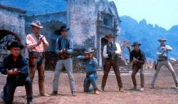 Yul Brynner, Steve McQueen, Horst Buchholz, Charles Bronson, Robert Vaughn, Brad Dexter  and James Coburn in The Magnificent Seven