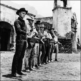 Yul Brynner, Steve McQueen, Horst Buchholz, Charles Bronson, Robert Vaughn, Brad Dexter and James Coburn in The Magnificent Seven.