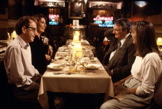 Woody Allen, Anjelica Huston, Alan Alda and Diane Keaton in Manhattan Murder Mystery.