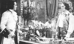Louis Hayward and Peter Cushing film a scene for The Man in the Iron Mask.
