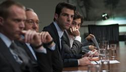 Paul Bettany, Kevin Spacey, Zachary Quinto and Penn Badgley in Margin Call.