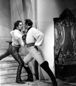 Tyrone Power and Basil Rathbone in The Mark of Zorro.