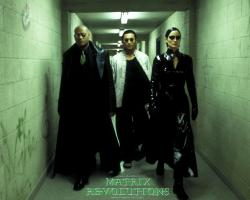 Laurence Fishburne, Collin Chou, and Carrie-Anne Moss in The Matrix Revolutions.