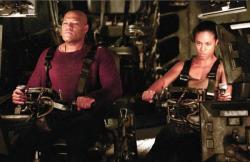 Laurence Fishburne and Jada Pinkett Smith in The Matrix: Revolutions.