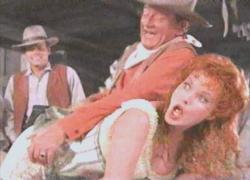 Patrick Wayne, John Wayne and Maureen O'Hara in McLintock!