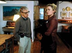 Woody Allen directs Radha Mitchell in Melinda and Melinda.