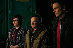 Clark Duke, Robin Williams and Joel McHale in Merry Friggin Christmas