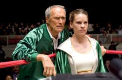 Clint Eastwood and Hilary Swank in Million Dollar Baby.