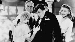 Betty Hutton, William Demarest, Eddie Bracken, and Diana Lynn in The Miracle of Morgan's Creek.