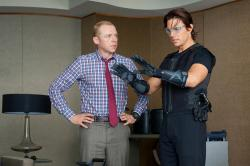 Simon Pegg and Tom Cruise in Mission: Impossible - Ghost Protocol.