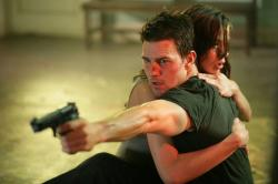 Tom Cruise and Michelle Monaghan in Mission Impossible III.