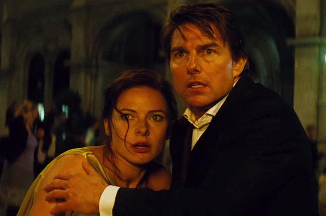 Rebecca Ferguson and Tom Cruise in Mission: Impossible - Rogue Nation.