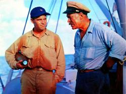 Jack Lemmon and Ward Bond in Mister Roberts.