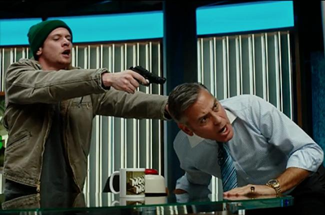 Jack O'Connell and George Clooney in Money Monster.