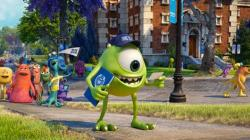 An anxious Mike on his first day of college in Monsters University