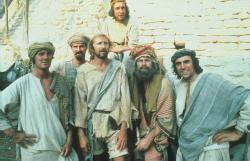 Michael Palin, John Cleese, Graham Chapman, Eric Idle, Terry Gilliam and Terry Jones in Monty Python's Life of Brian.