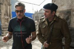 George Clooney directing Jean Dujardin in The Monuments Men