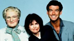 Robin Williams, Sally Fields and Pierce Brosnan in a publicity still for Mrs. Doubtfire